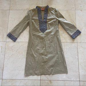Tory Burch Embroidered Sz 2 Shift 3/4 Sleeve Dress